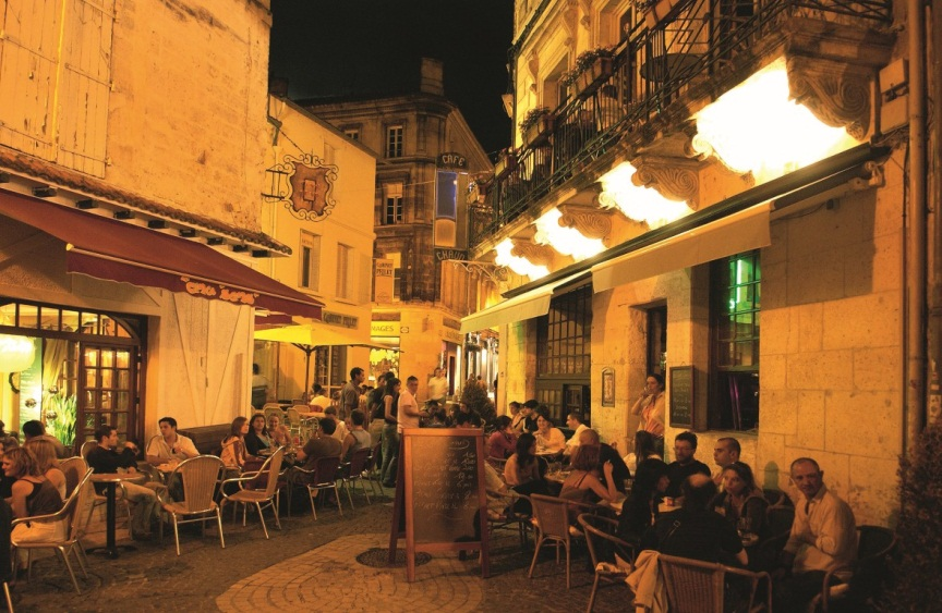 On street dining in Angouleme in Cognac Country in the Poitou-Charentes region on the Atlantic coast of France on Mallory on Travel adventure photography