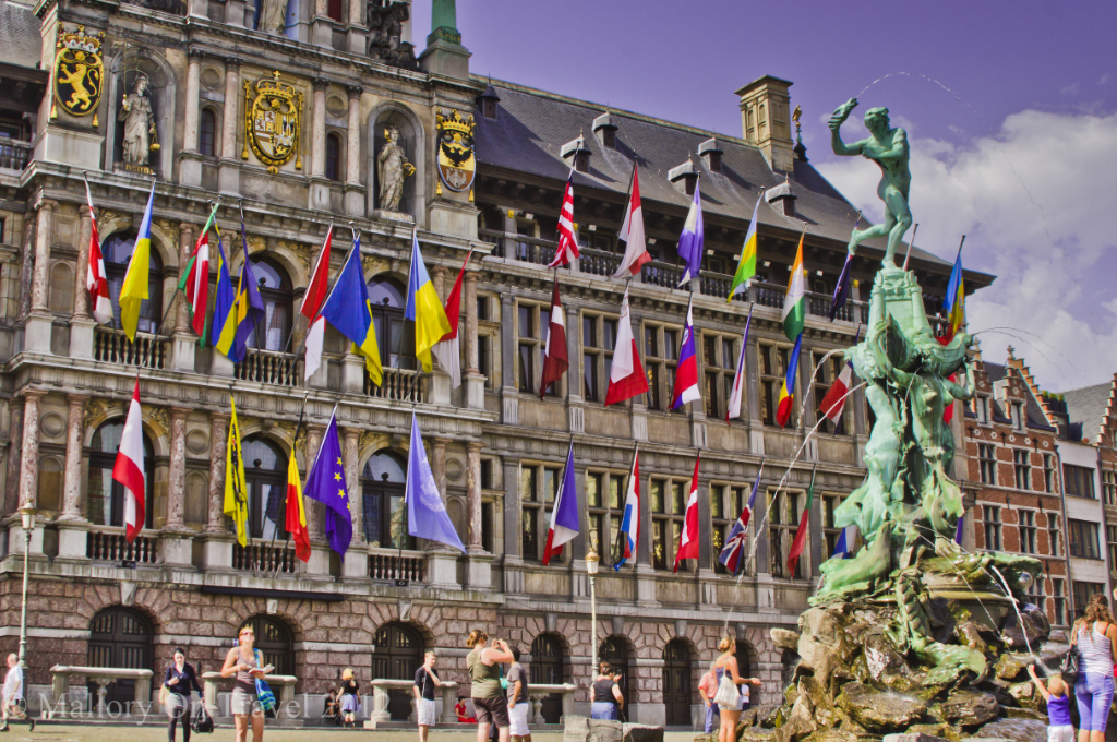 The flags fly outside the Stadhuis Antwerp historical centre, Flanders, Belgium on Mallory on Travel adventure photography
