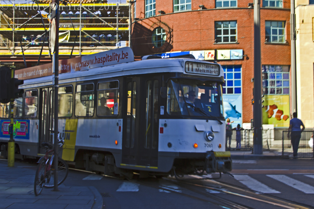 A tram in the city centre of Antwerp in the Flanders region of Belgium on Mallory on Travel adventure photography