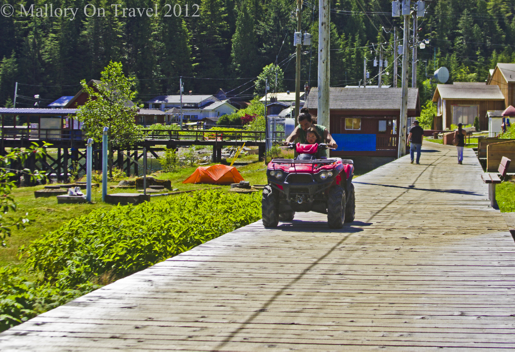 The boardwalk in Hartley Bay home of the Gitga' at First Nation people in British Columbia, Canada on Mallory on Travel adventure photography