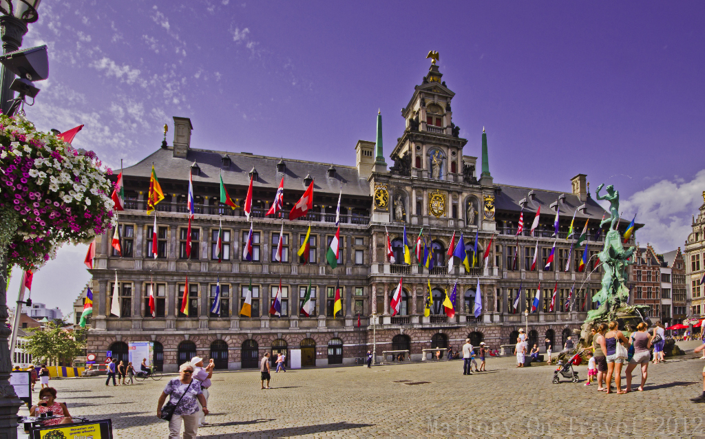 The Stadhuis flag building of Antwerp and Brabo fountain in the Flanders region of Belgium, Europe on Mallory on Travel adventure photography