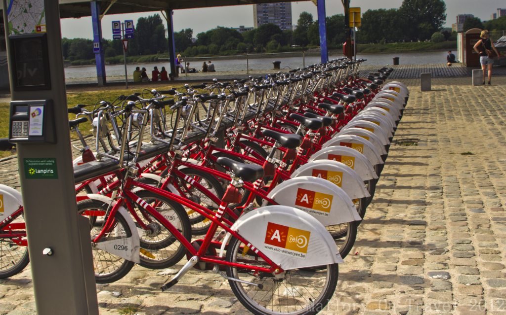 Bicycles for rental in Antwerp, Flanders region of Belgium on Mallory on Travel adventure photography