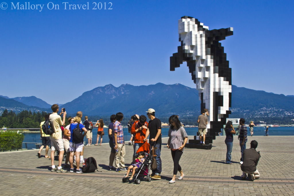The designed Digital Orca on Vancouver seafront British Columbia, Canada on Mallory on Travel adventure photography