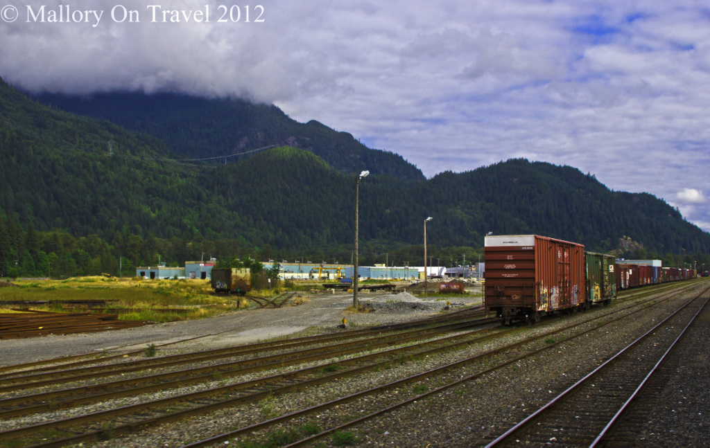 Railway sidings in Squamish on the Rocky Mountaineer from Vancouver to Whistler in British Columbia, Canada on Mallory on Travel adventure photography