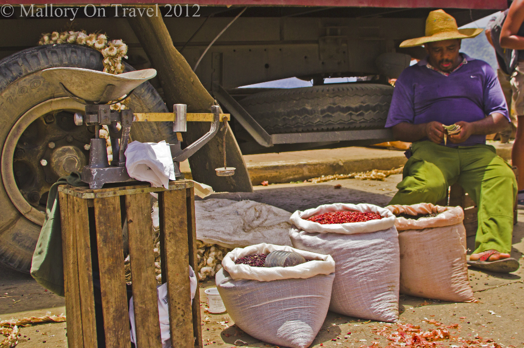 Market trader with garlic and chillies on the Caribbean island of Cuba on Mallory on Travel adventure photography