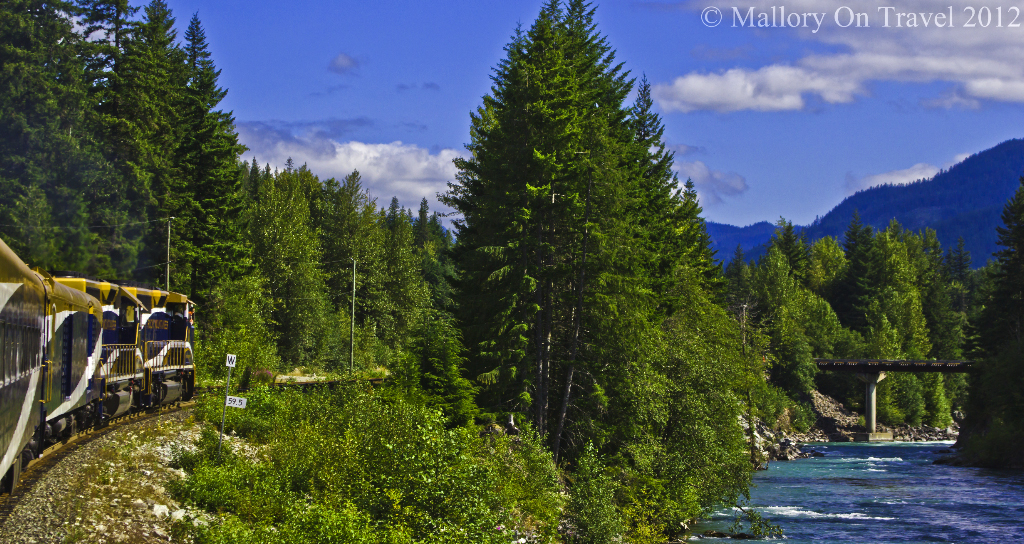 The amazing scenery and train of the Rocky Mountaineer route from Vancouver to Whistler in British Columbia, Canada on Mallory on Travel adventure photography