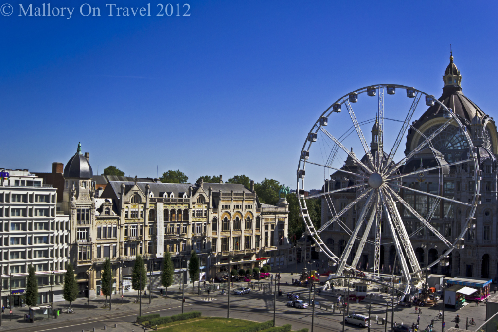 Antwerp Central Train Station and big wheel, in the Flanders region of Belgium