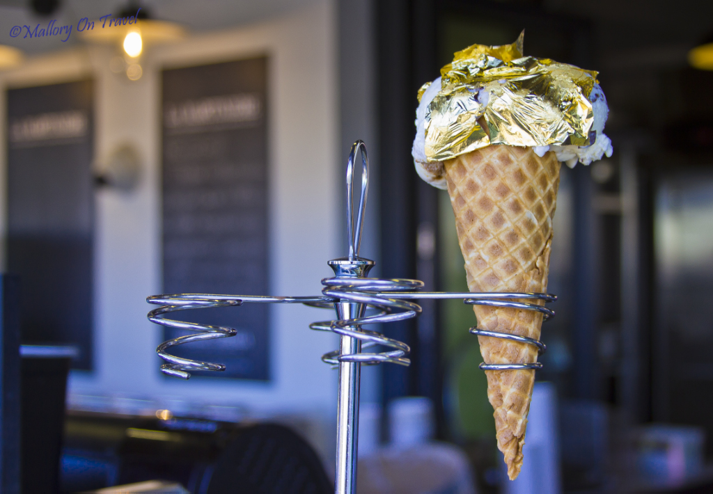 24 carat gold leaf ice cream in St Martin, Île de Ré, France on Mallory on Travel adventure photography