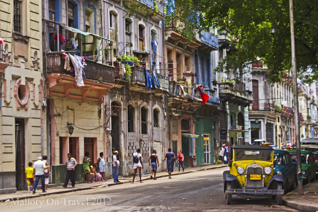 Classic car and street scene in Havana on the Caribbean island of Cuba on Mallory on Travel adventure photography