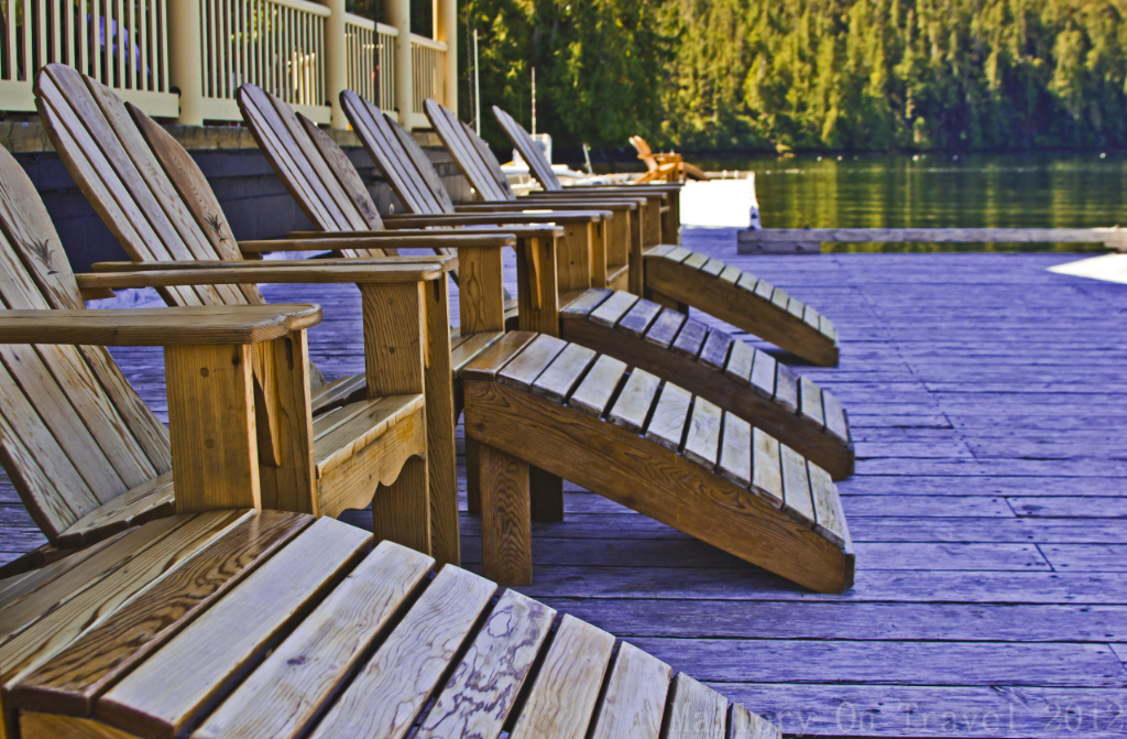 Relaxing loungers at the King Pacific Lodge in the Great Bear Rainforest in British Columbia, Canada on Mallory on Travel adventure photography