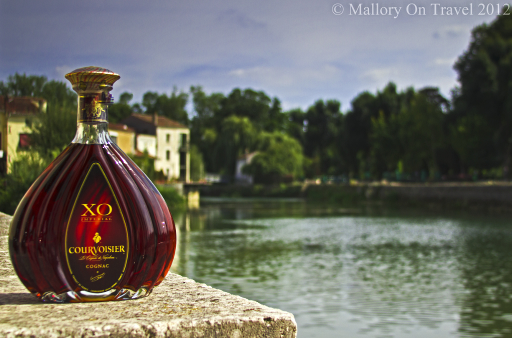 A very expensive bottle of cognac from the House of Courvoisier on the River Charente in Cognac in Poutio-Charentes, France on Mallory on Travel adventure photography