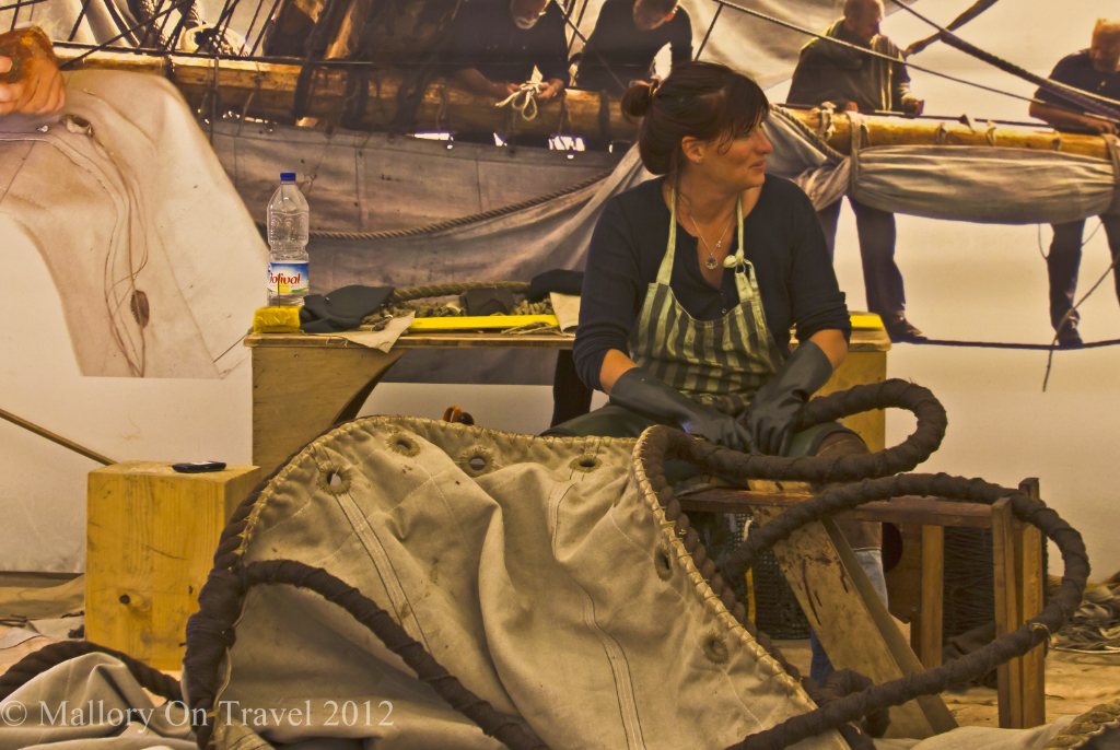Making the sails of the'Hermione in Rochefort in the Charente-Maritime region of France on Mallory on Travel adventure photography