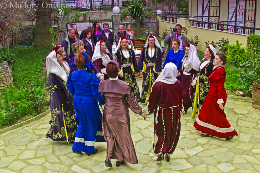 Ladies dancing on the island of Ammouliani off the Greek coast of Halkidiki near Ouranoupolis  on Mallory on Travel adventure photography