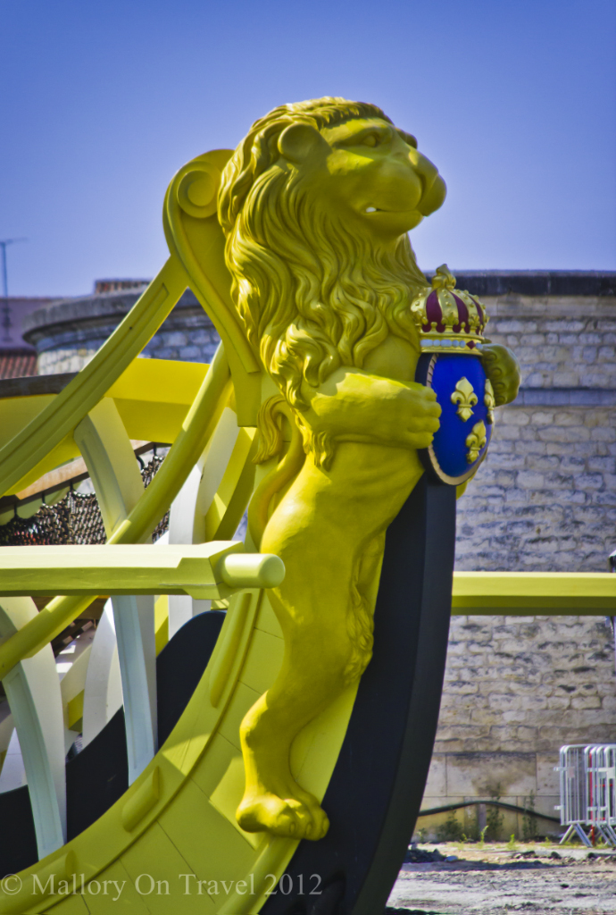 The French lion figurehead of the'Hermione in Rochefort in Poitou-Charentes, France on Mallory on Travel adventure photography