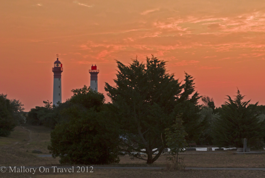 Sunsetting over the lighthouse on Île-d'Aix in the French region of  Poitou-Charentes on Mallory on Travel adventure photography