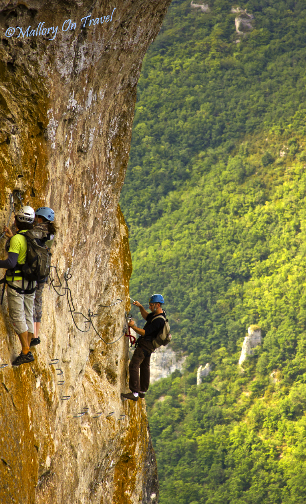 Via-feratta in the French Midi-Pyrenees, Tarn gorge in the Aveyron region near Millau on Mallory on Travel adventure photography
