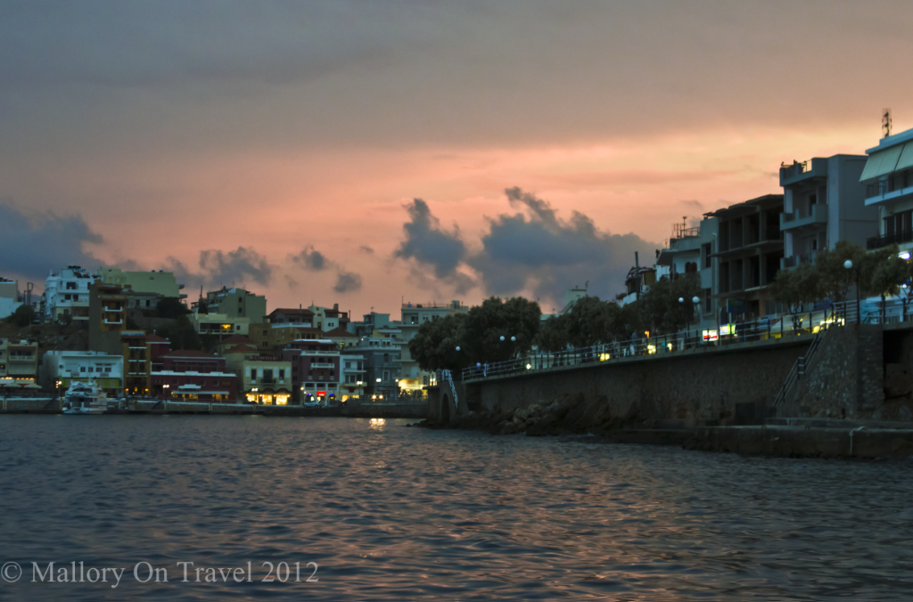 Sunset in the resort of Agios Nikolaos on Crete, Greece on Mallory on Travel adventure photography