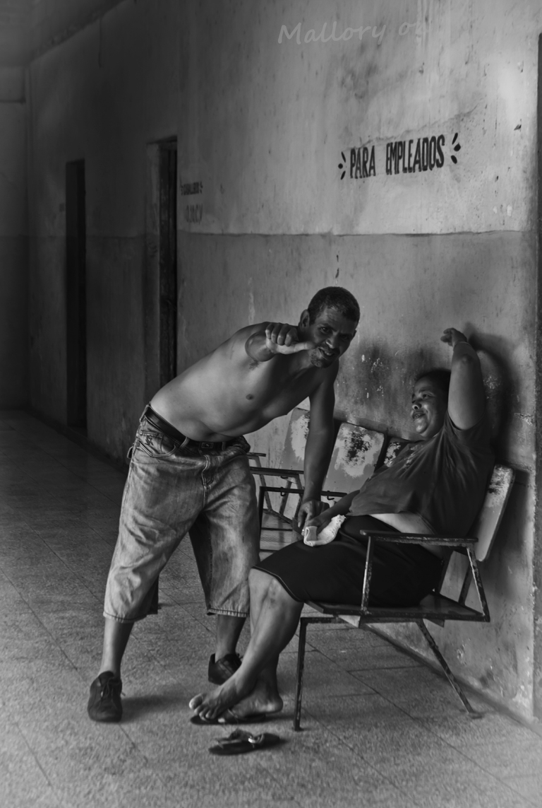 Cuban prankster at the Baracoa bus station on the Caribbean island on Mallory on Travel adventure photography