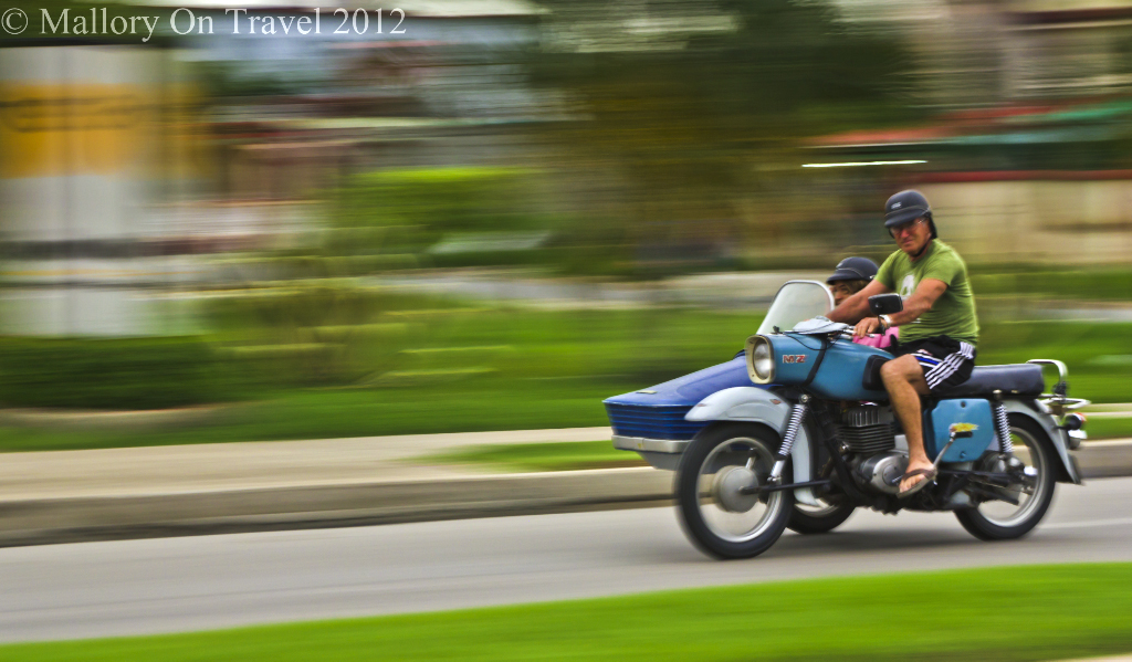 Sidecar in Cienfeugos, Cuba in the Caribbean on Mallory on Travel adventure photography
