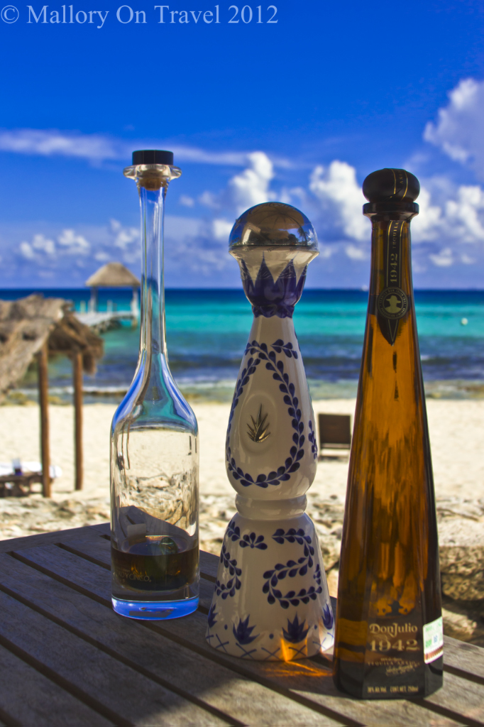 Tequila on the beach in the Riviera Maya on the Mexican coast of the Caribbean on Mallory on Travel adventure photography