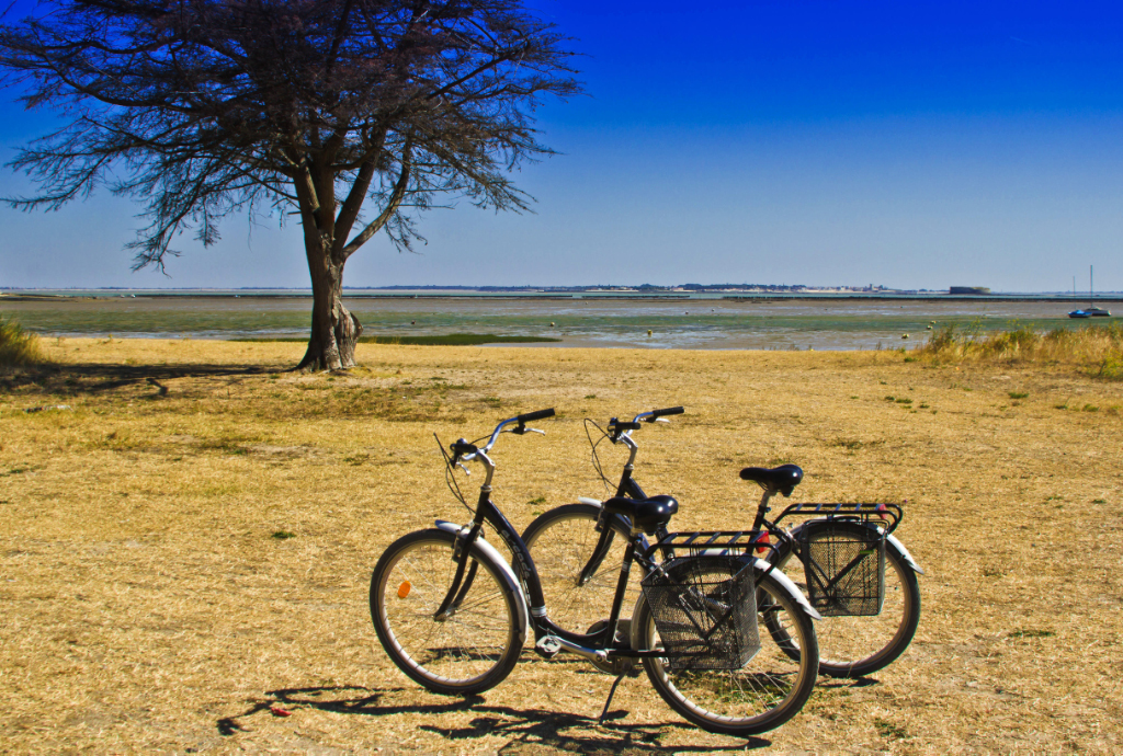 Taking a cycling tour on Île-d'Aix in the Charente-Maritime region of France on Mallory on Travel adventure photography