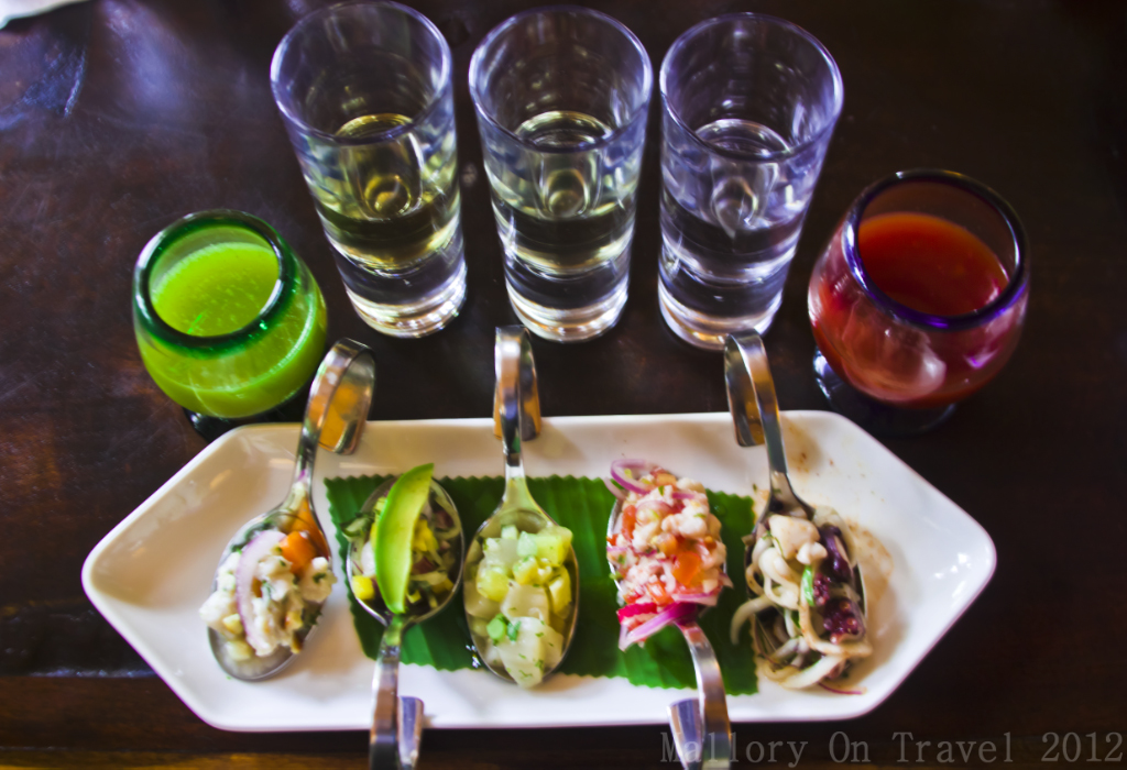 Tequila tasting with ceviche  in Riviera Maya on the Mexican coast of the Caribbean on Mallory on Travel adventure photography