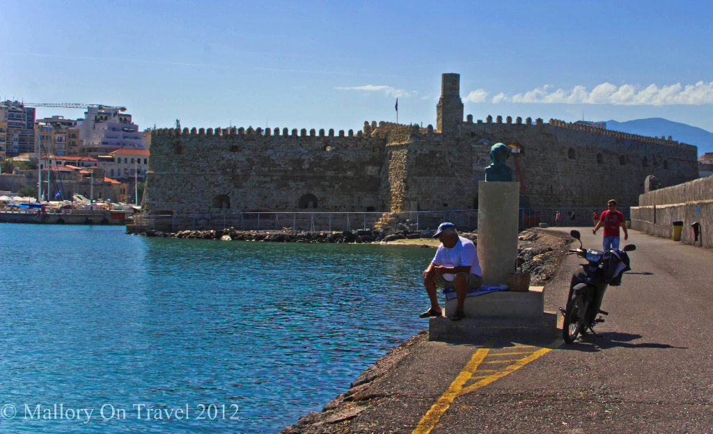 A fisherman in the harbour in Heraklion, on the island of Crete, Greece Copyright © Mallory on Travel 2012