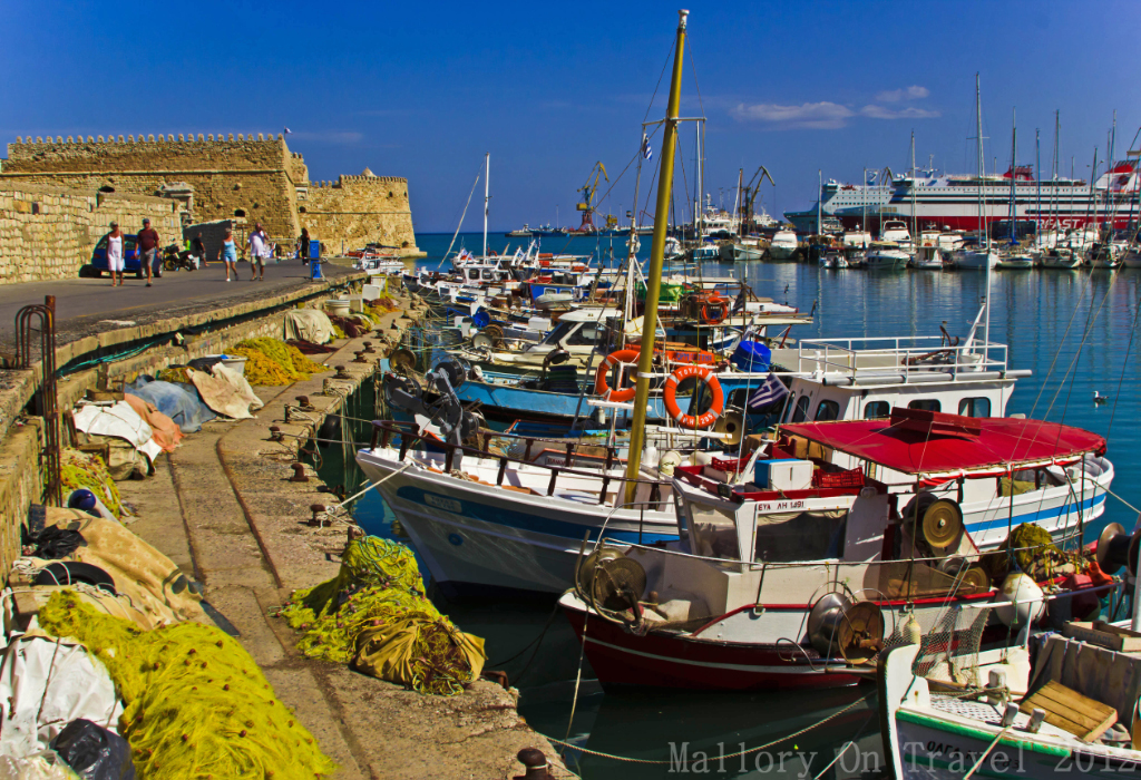 The harbour in Heraklion, on the island of Crete, Greece on Mallory on Travel adventure photography