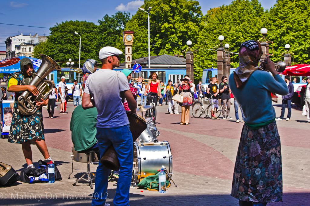 Eccentric street performers playing in Riga the capital city of Latvia on Mallory on Travel adventure photography