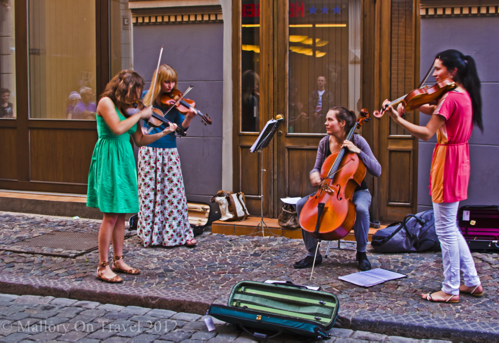 Female street performers in Riga the capital city of Latvia on Mallory on Travel adventure photography