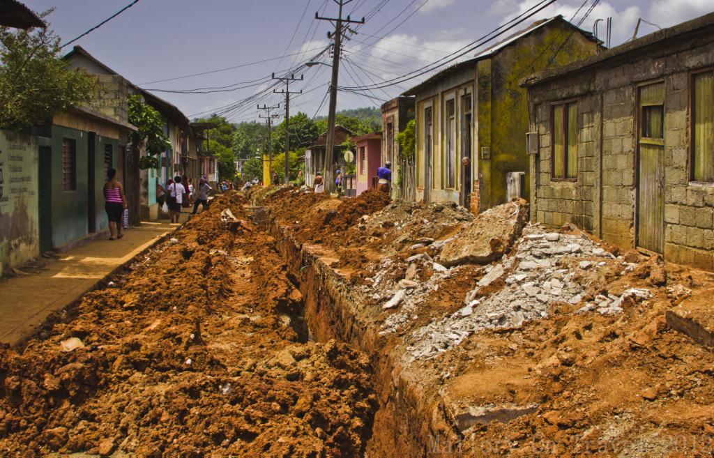 Cuban roadwork's in Baracoa on the Caribbean island on Mallory on Travel adventure photography