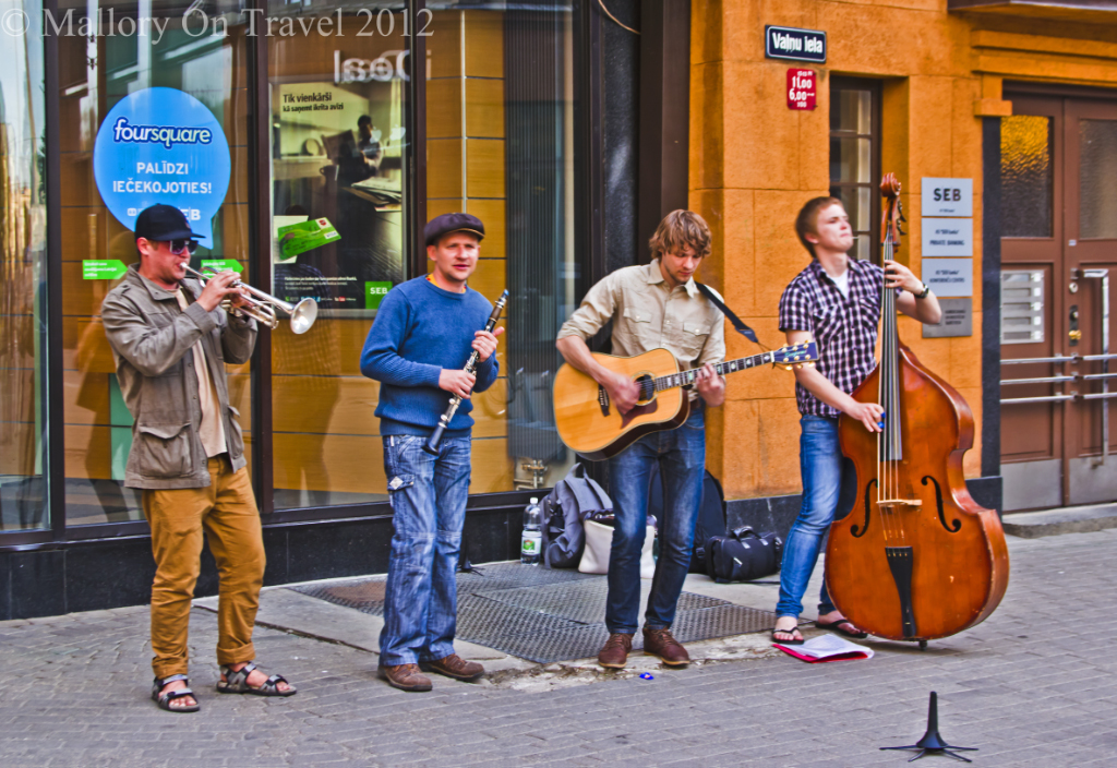Male street performers in Riga the capital city of Latvia on Mallory on Travel adventure photography