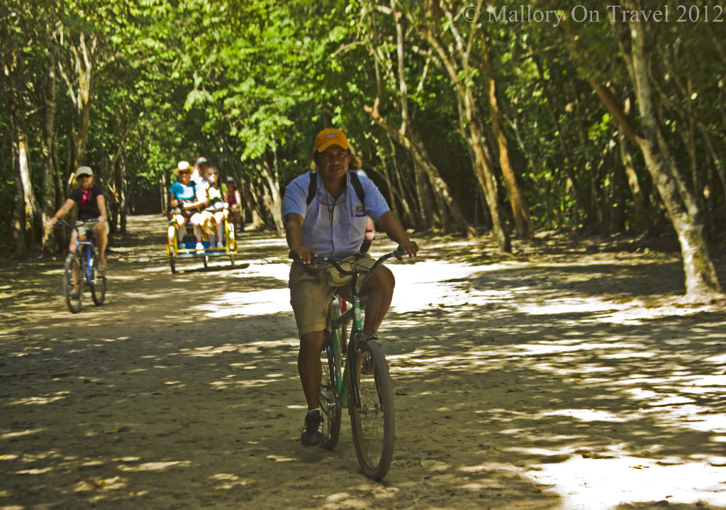 Cycle touring amongst the pyramids at the archeological site of Cobá, near Riviera Maya, Mexico on Mallory on Travel adventure photography