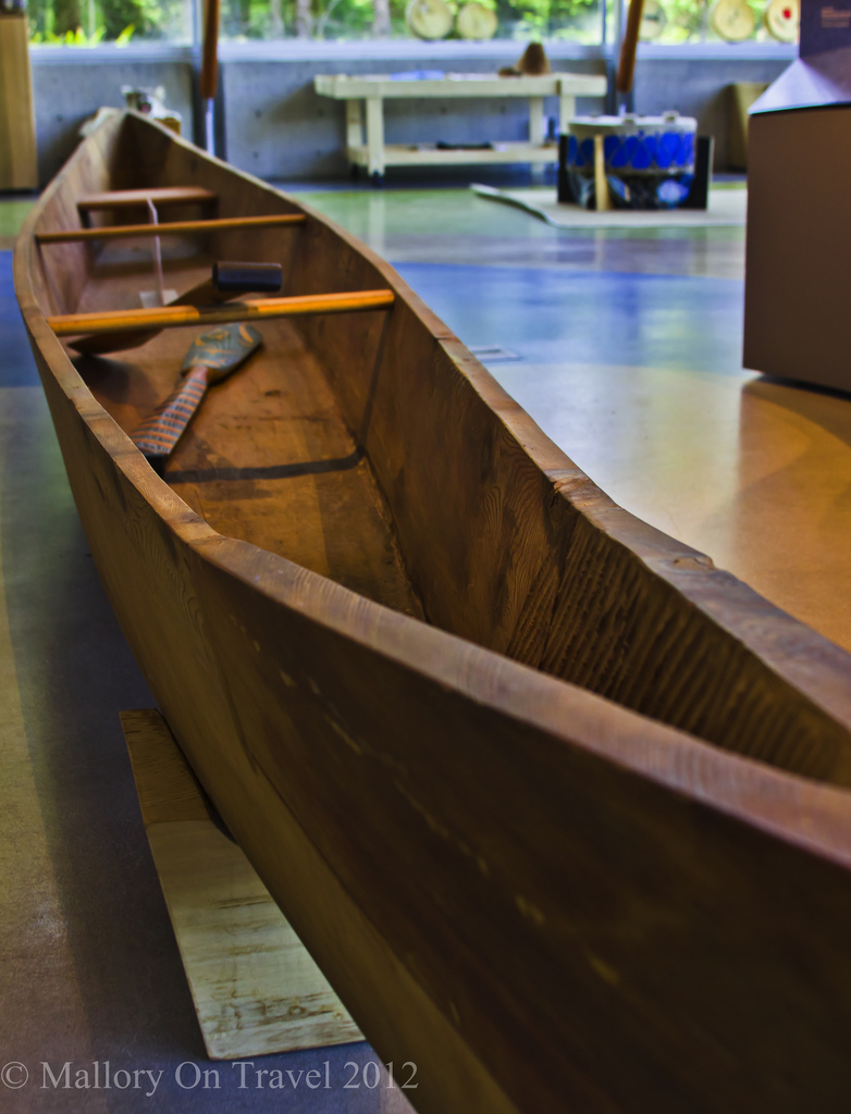 Indigenous Culture; A traditional open canoe in the Squamish Lil'wat Cultural Centre in Whistler, British Columbia, Canada on Mallory on Travel adventure photography Iain Mallory-300-173