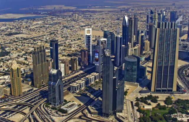 The view of Downtown Dubai from the Burj Khalifa the top of the Burj Khalifa on Mallory on Travel, adventure, adventure travel, photography Iain Mallory-300-10 burj-khalifa