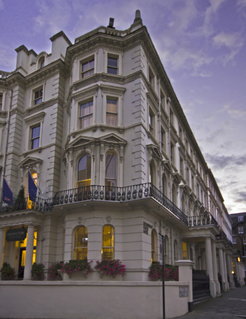 Outside the Kensington House Hotel in central London on Mallory on Travel adventure photography