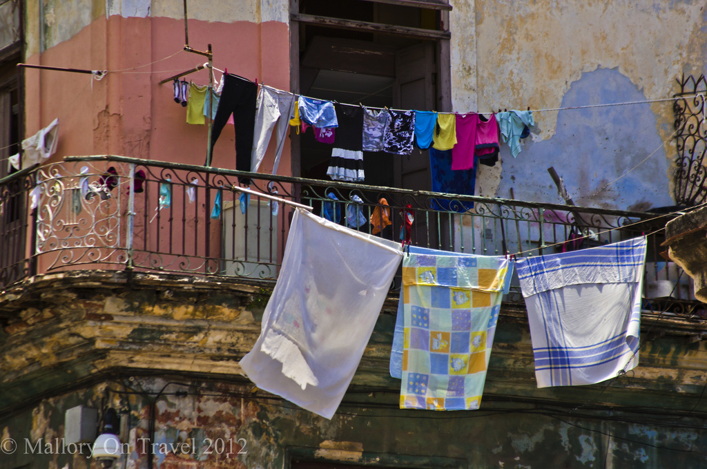 Mixed washing lines make great photography subjects in Havana on the Caribbean island of Cuba on Mallory on Travel adventure photography Iain Mallory-300-263