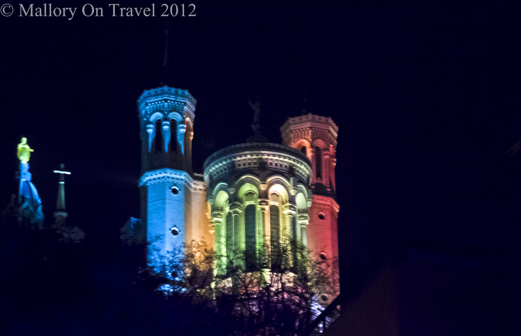 The Basilica and Virgin Mary at the Lyon Festival of Light in the Rhône Alpes region of France on Mallory on Travel adventure photography Iain Mallory-300-4