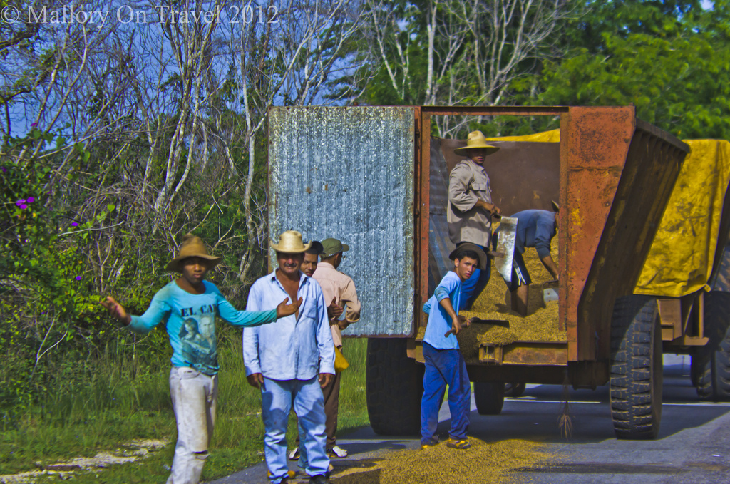 Working on the grain truck of the rice road to Havana on the Caribbean island of Cuba on Mallory on Travel, adventure, photography Iain Mallory-300-14 (2)