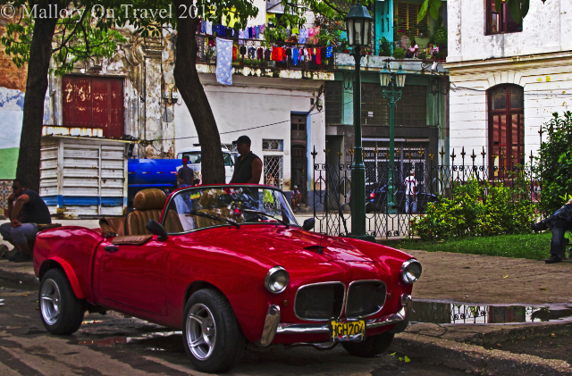 Classic cars and washing lines make great photography subjects in Havana, Cuba in the Caribbean on Mallory on Travel adventure photography
