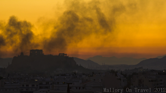 new media view of sunset over the Panthenon and Acropolis in Athens, Greece on Mallory on Travel, adventure, photography