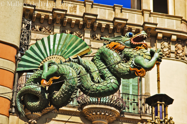 cast iron dragon outside the 4Cats restaurant in Barcelona, capital city of Catalonia in Spain on Mallory on Travel, adventure, photography on Mallory on Travel, adventure, photography