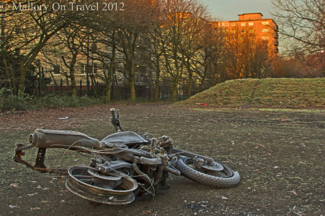 Abandoned motorbike in suburban Salford woodland, of greenbelt Manchester in the United Kingdom on Mallory on Travel adventure photography Iain Mallory-300-32_abandoned_bike