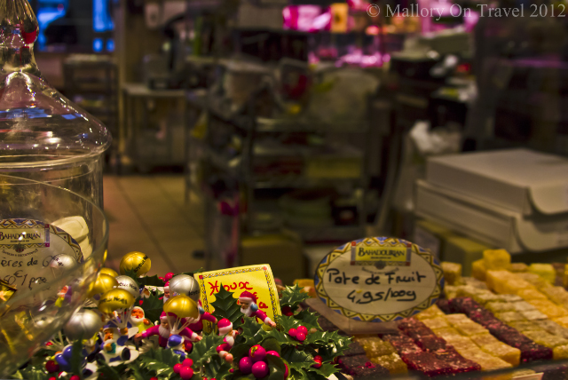 The confectionary stall at the Lyon Hall in the Rhône-Alpes region of France on Mallory on Travel adventure photography