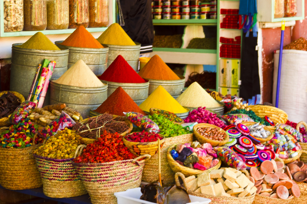 Blogging favourite, A colourful spice shop in the medina of Marrakech in the North African country of Morocco on Mallory on Travel, adventure, adventure travel, photography
