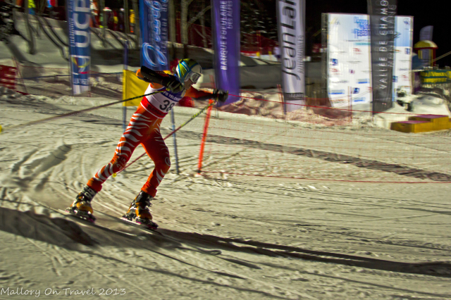 Competitor heading for the finish line at Chamonix, in the Rhone-Alpes region of France welcomes the Telemark Skiing World Cup Night Sprint at the Planards  on Mallory on Travel, adventure, adventure travel, photography Iain Mallory-300-3 telemark_skier