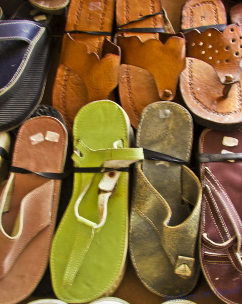 Colourful sandals in the souks of the medina in Essaouri, Morocco  on Mallory on Travel, adventure, adventure travel, photography Iain_Mallory_0705881-1