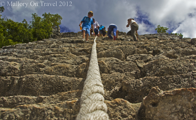 Climbing the Nohoc Mul pyramid in the ancient Mayan site of Cobá in the Riviera Maya region of Mexico on Mallory on Travel, adventure, adventure travel, photography Iain Mallory-300-16 coba_mexico