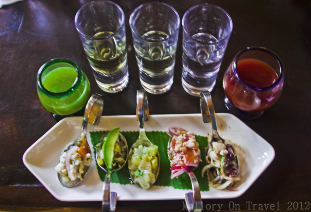 Tequila shots and ceviche on Playa del Carmen in the Riviera Maya, Mexico on Mallory on Travel, adventure, adventure travel, photography Iain Mallory-300-33