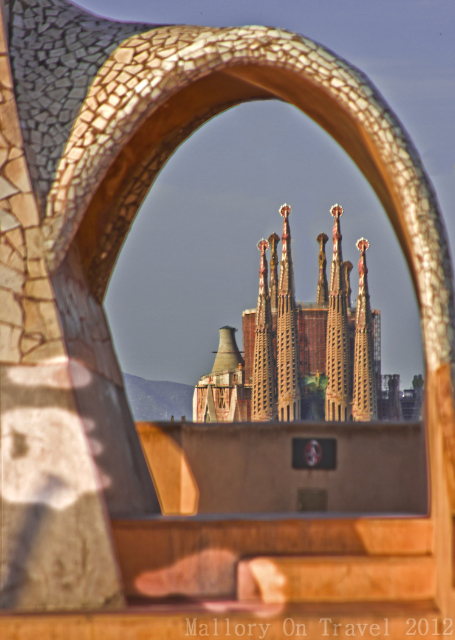 A view of La Sagrada Familia from the roof of the Palau Güell in Barcelona capital of Catalonia in Spain on Mallory on Travel, adventure, adventure travel, photography Iain Mallory-300-34 sagrada_familia-1